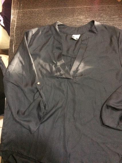 Blusa Talla 1x Color Negra Cerrada, Tipo Tunica