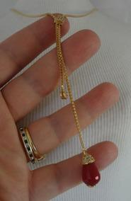 Colar Folheado A Ouro Pendulo Com Pedra Natural Rubi Cf 43