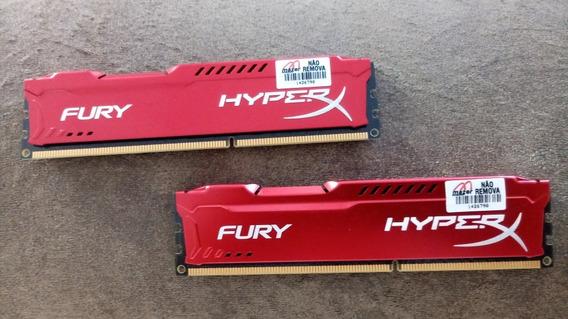 Memória Kingston Hyperx Fury 2x4gb 1600mhz Ddr3 Cl10 Red