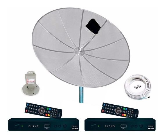 Antena Parabolica 190cm 2 Receptor Multipo Digital Hd Analog