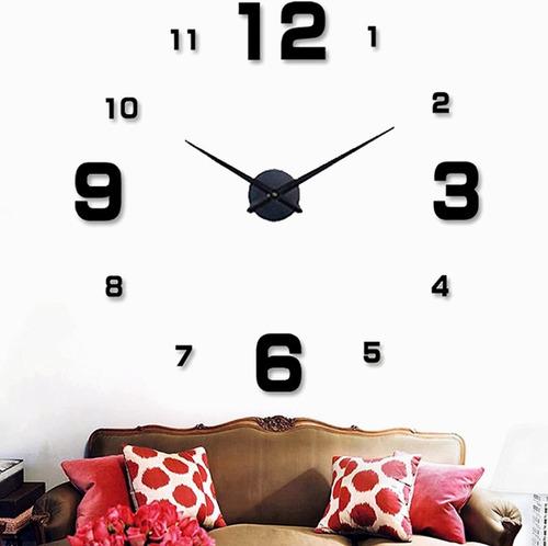 Imagen 1 de 9 de Reloj De Pared Con Diseño 3d Moderno Grande Negro Numero47''