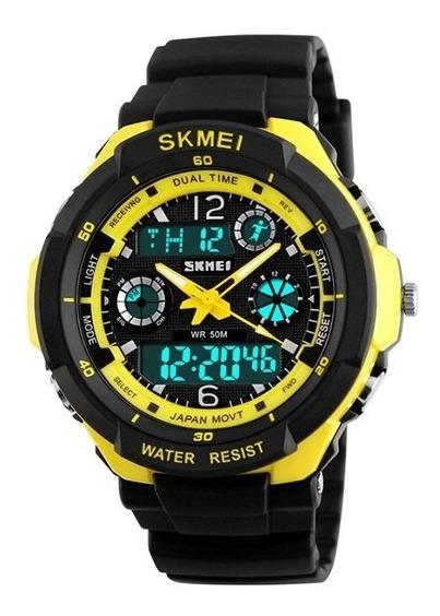 Relógio Masculino Skmei Anadigi 0931 Amarelo