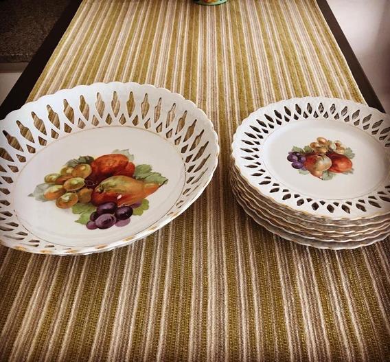 Vajilla De Porcelana. 6 Platos Y Una Frutera