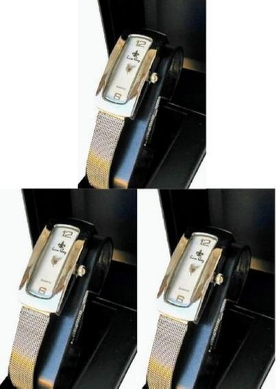 Kit C/ 3 Relógios Feminino Luxo Atacado Revenda Prateado Aço Inox Social Bom Bonito Barato Pronta Entrega +caixas