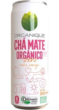 Chá Mate Organique Zero Açúcar Com Sabor De Pêssego 350m
