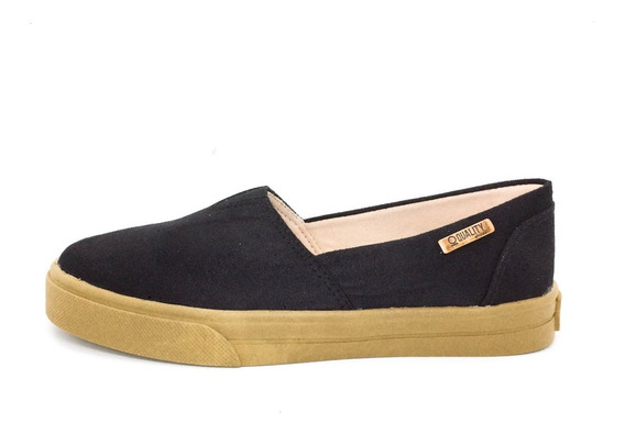 Tênis Slip On Quality Shoes Feminino 002 Camurça Preto Sola