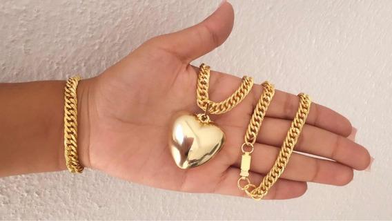 Colar + Pulseira Coração Banhado A Ouro 18k