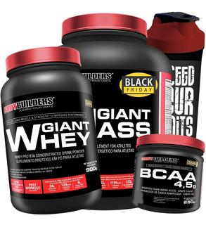 Kit Massa 3kg + Whey Protein 900g + Bcaa 250g + Coqueteleira
