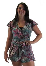Conjunto Feminino Cropped Shorts Saia Com Laço Barato Floral