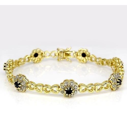 *oferta* Pulsera Lujosa 67 Quilates Estilo Tenis Diamantes Natural Y Zafiros Plata 925 Chapa De Oro 14k Joyeria Ringking