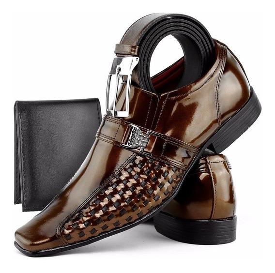 Sapato Social Masculino Couro Envernizado Kit Cinto+carteira
