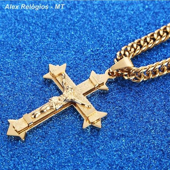 Cordão Masculino Aço Inox Banhada Ouro 18k Crucifixo