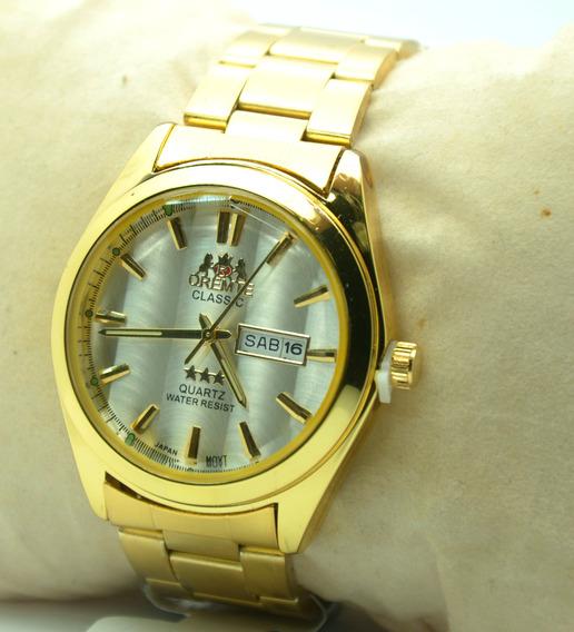 Relógio Pulso Masculino Dourado Estilo Clássico Social