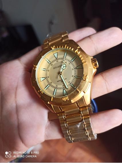 Relógio Atlantis Original Folhado A Ouro 18k A Prova D