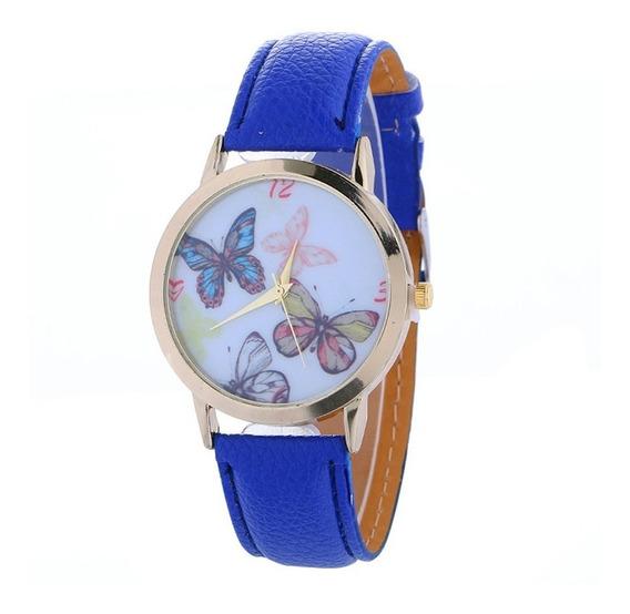 Reloj Con Mariposas Para Dama Elegante De Cuero Alta Calidad