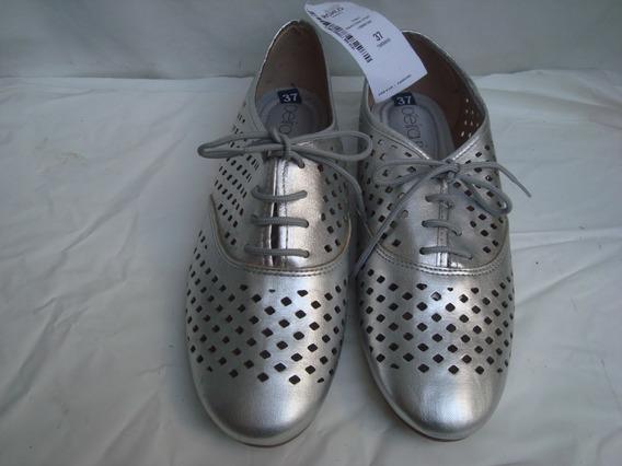 Sapato Oxford Feminino Prata Da Beira Rio Nº 37 C/ Etiqueta