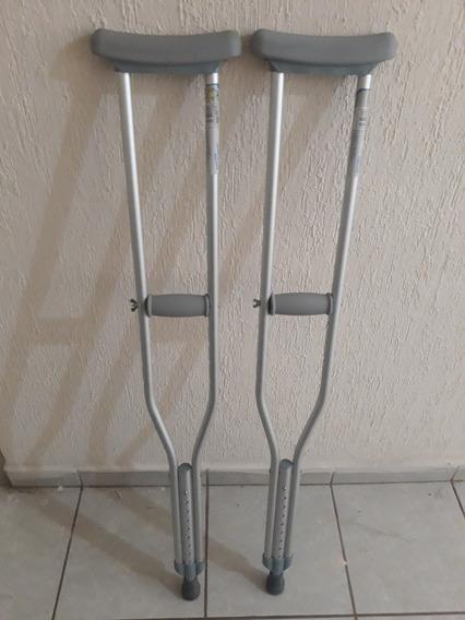 Par De Muletas De Aluminio, Medianas, Con Ajuste Telescópico