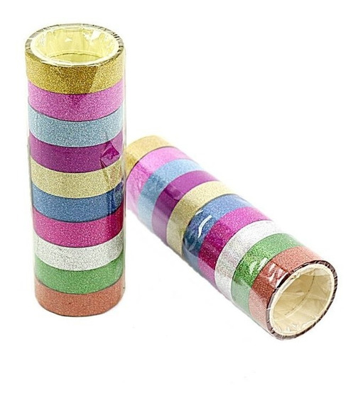 Fita Adesiva Decorativa Gliter Washi Tape Scrapbook 10 Unid