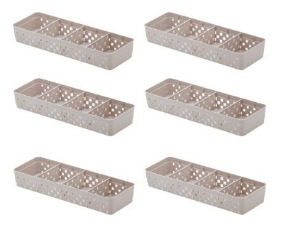 6 Cestos Organizador C/ Divisória Removível 33x11x5cm