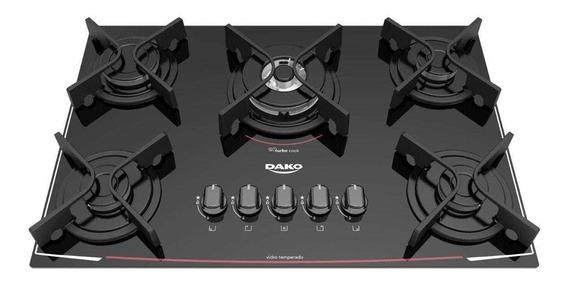 Fogão cooktop misto Dako Turbo Glass DC5VTZ-PS0 preto 127V/220V