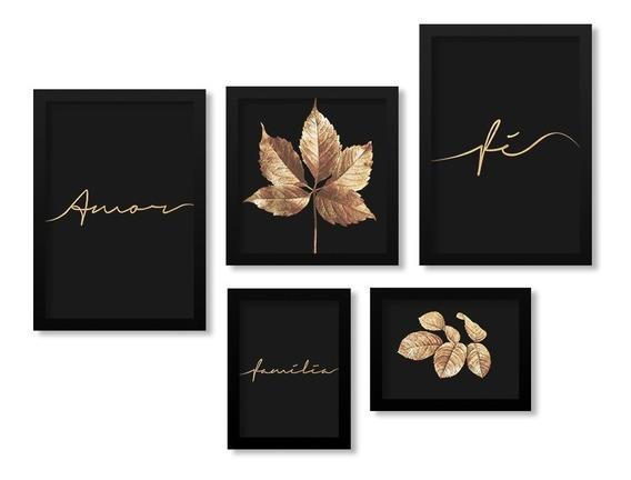 Kit 5 Quadros Decorativos Folhas Frases Amor Fé Dourado