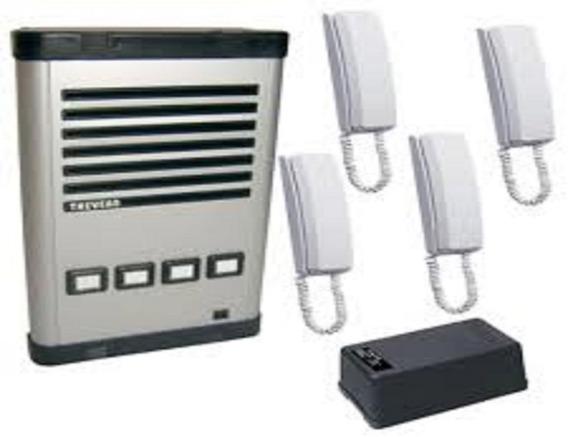 Kit 04 Pontos Thevear Porteiro Coletivo+fonte+4 Interfones