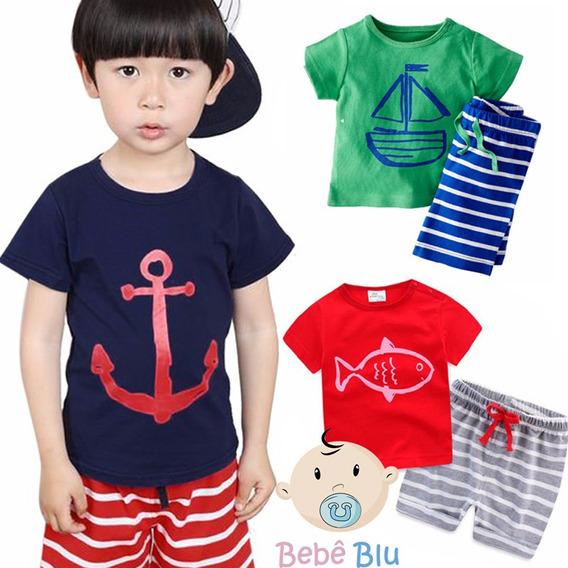 Bebê Conjunto Marinheiro Praia Infantil Camisa Bermuda