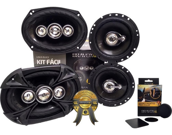 Alto Falante Kit Fácil Bk Bravox 6 E 6x9 380w Rms + Brinde