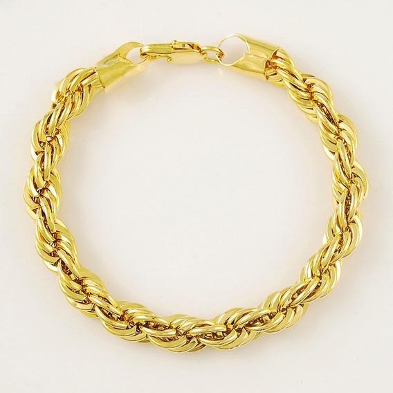 Pulseira Unissex Formato De Corda Banhada Em Amarelo Ouro