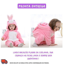 Macacão Pijama Bebê Bichinho Fantasia Coelhinha Infantil