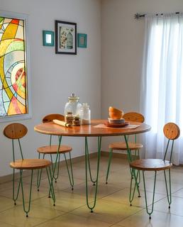 Mesa Redonda Estilo Vintage Retro 120cm Ideal Para Comedor