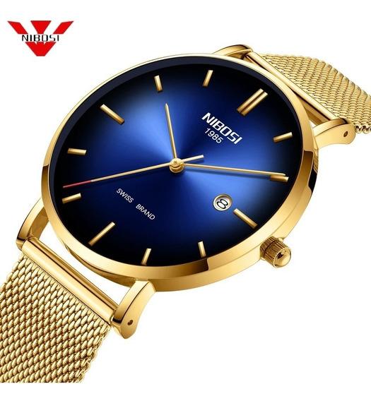 Relógio Nibosi Unissex Dourado E Azul 2362 Original 30m