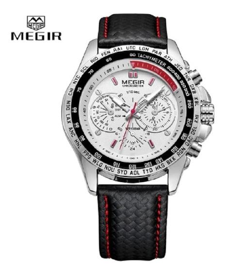 Relógio Luxo Megir Pulseira De Couro Original Top Unissex