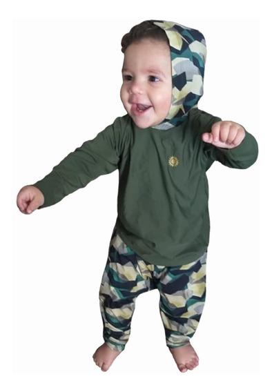 Conjunto Bebê Menino Com Proteção Uv 50- 3 A 15 Meses