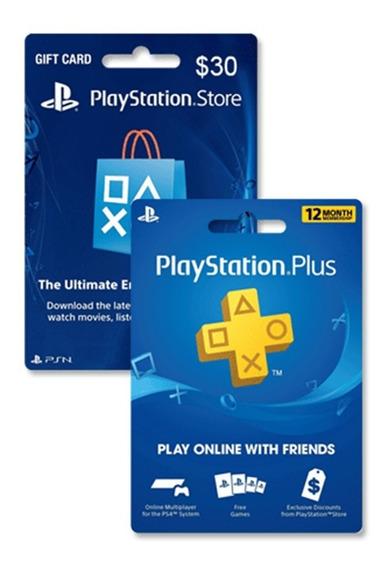Tarjeta Psn Plus 12 Meses + Psn 30 U$ Usa   Entrega Inmediata - Gamer24hs