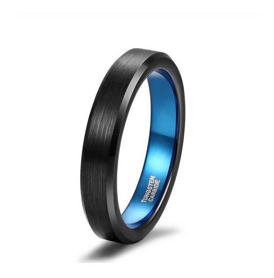 Anillo Tungsteno Ryux Iii Negro Azul Mate 4mm