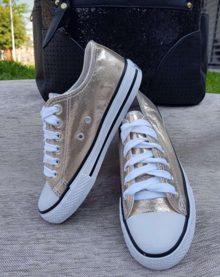 Zapatillas Tipo Converse Metalizadas De Mujer Importadas