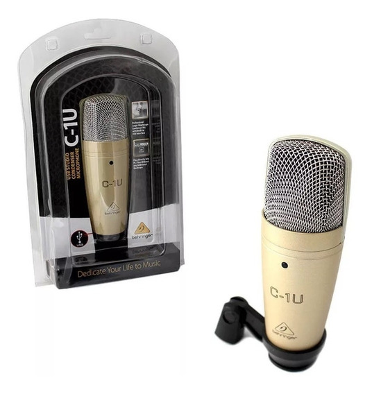 Microfone Condensador Behringer C-1u, Pedestal E Popfilter