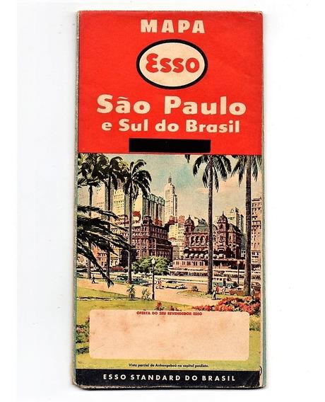 Folheto Propaganda Antiga Mapa Esso São Paulo E Sul 1955