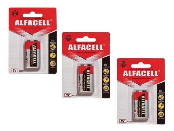 Kit De 3 Baterias 9v Alfacell 6f22/1b Comum 6f221b