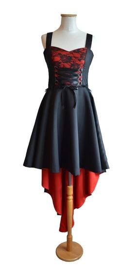 Vestido Gótico Dark Largo Con Cola Negro Rojo Corset Encaje
