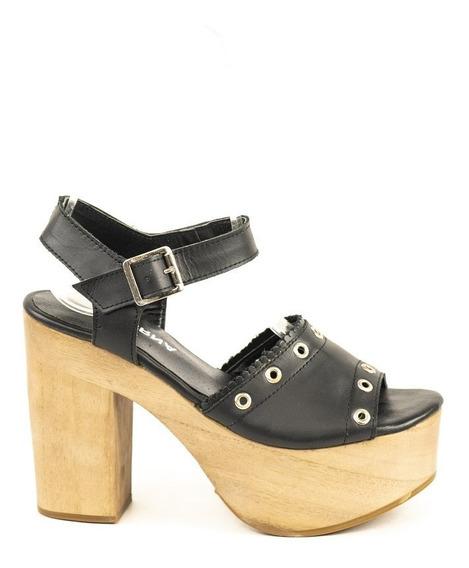 Zapato Lucerna Plataforma Alta Taco Madera Cuero Negro