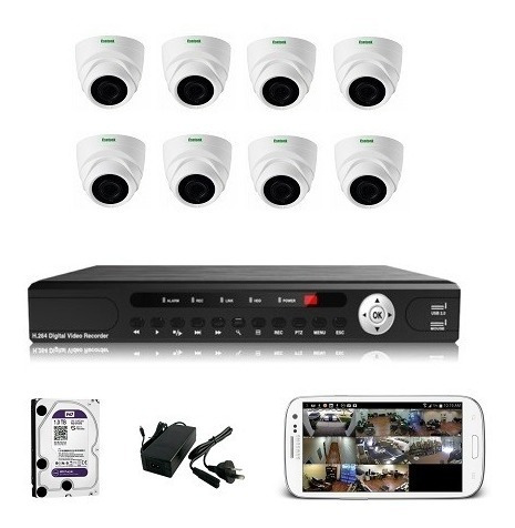 Kit Seguridad 8 Camaras Hd 720p Xvr 8ch Dvr Cctv Disco 1tb