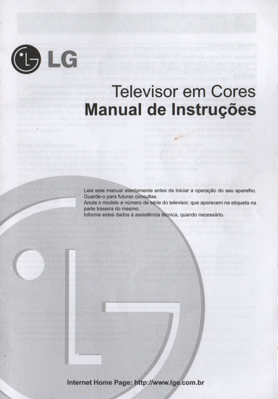 Manual Tv Em Cores LG 29cc2rl / 29cc9rl / 29fx5cl / 29fe8rl