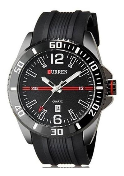Relógio Masculino Curren Preto 1 Ano De Gara 12x S/juros+nfe
