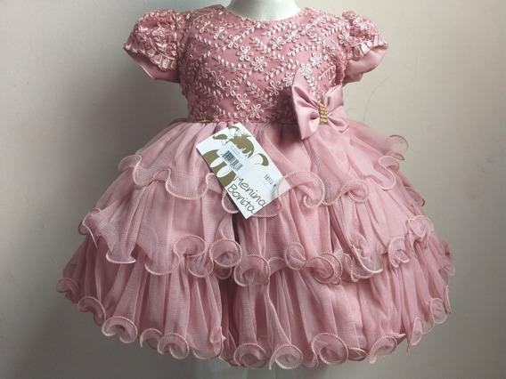 Vestido Bebê Rosê Princesas Babados Luxo Festa Menina Bonita