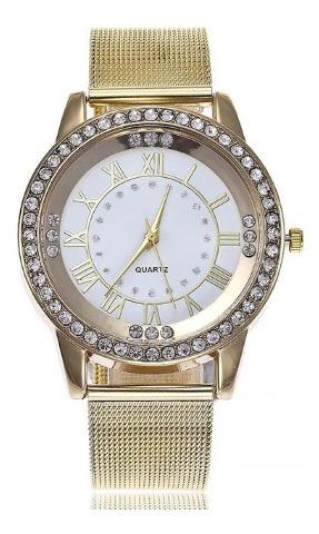 Relógio De Pulso Quartz Feminino Dourado E Branco Com Pedras