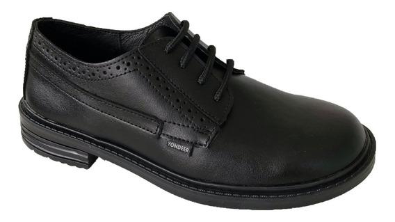 Zapato Colegial Yondeer 7600 Niño Negro Piel Moda Casual