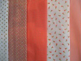 Kit 7 Tecidos Estampados Vermelhos P/ Patchwork 100% Algodão