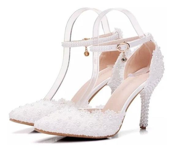 Sapato Scarpin Branco Renda Flores Noiva Perolas Salto Festa